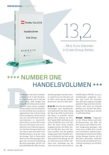 Number One 2018: Erste Group Handelsvolumen