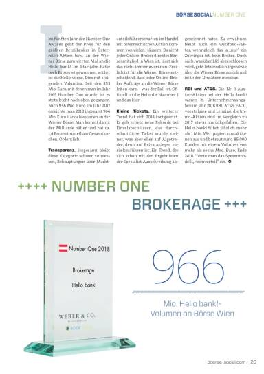 Number One 2018 Hello bank! Brokerage