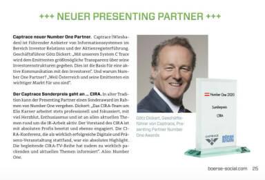 Number One Awards 2020, Götz Dickert vom neuen Presenting Partner Captrace vergibt seinen Sonderpreis an die CIRA