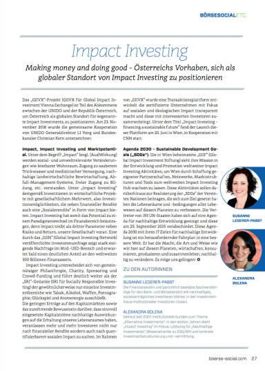 Impact Investing: Making money and doing good - Börse Social Magazine #06