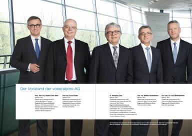 Der Vorstand der voestalpine AG: Robert Ottel, Franz Rotter, Wolfgang Eder, Herbert Eibensteiner, Franz Kainersdorfer